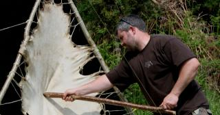 Staking a deer hide