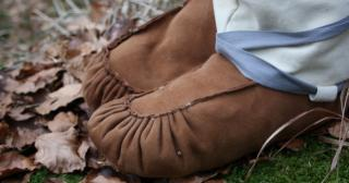 Suede leather mukluk style moccasin boots