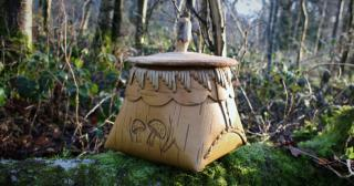 Birch bark container with amanita fungi design made by Joe O'Leary