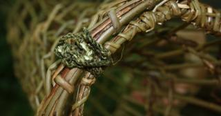 Nettle cord on a willow fish trap