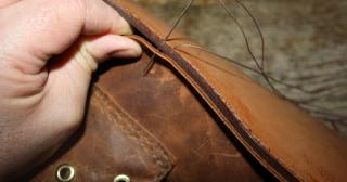 Stitching on a leather midsole