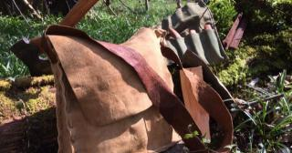 Hand made buckskin bag with bark tanned straps
