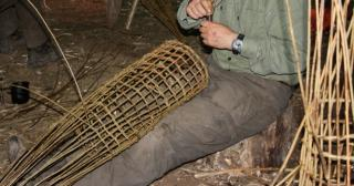 Weaving a willow fish trap