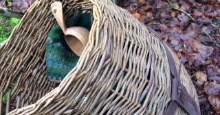 Willow pack basket with contents